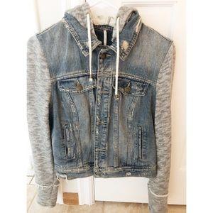Free People Jean jacket hoodie